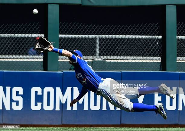 Kevin Pillar of the Toronto Blue Jays makes a catch in center field of the ball hit by Brian Dozier of the Minnesota Twins during the fifth inning of...