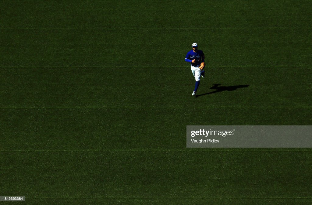Kevin Pillar #11 of the Toronto Blue Jays plays the field in the seventh inning during MLB game action against the Detroit Tigers at Rogers Centre on September 10, 2017 in Toronto, Canada.