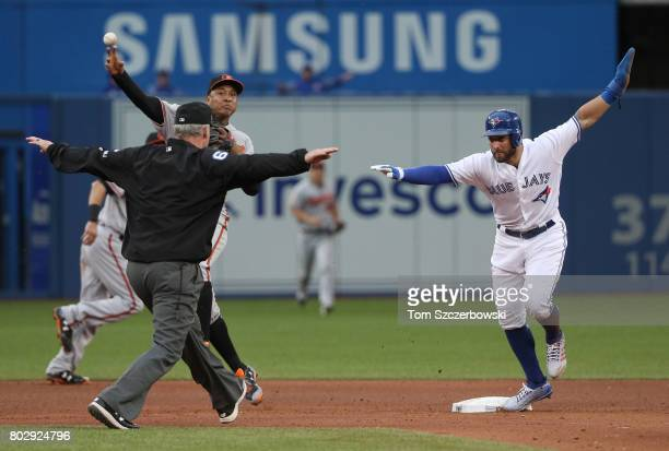 Kevin Pillar of the Toronto Blue Jays reaches second base safely on a fielderâs choice allowing a run to score on the play in the fourth inning...
