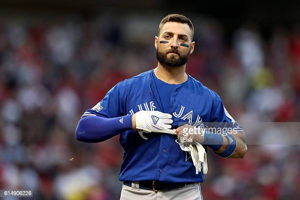 Kevin Pillar of the Toronto Blue Jays reacts after being struck out in the seventh inning against Andrew Miller of the Cleveland Indians during game...