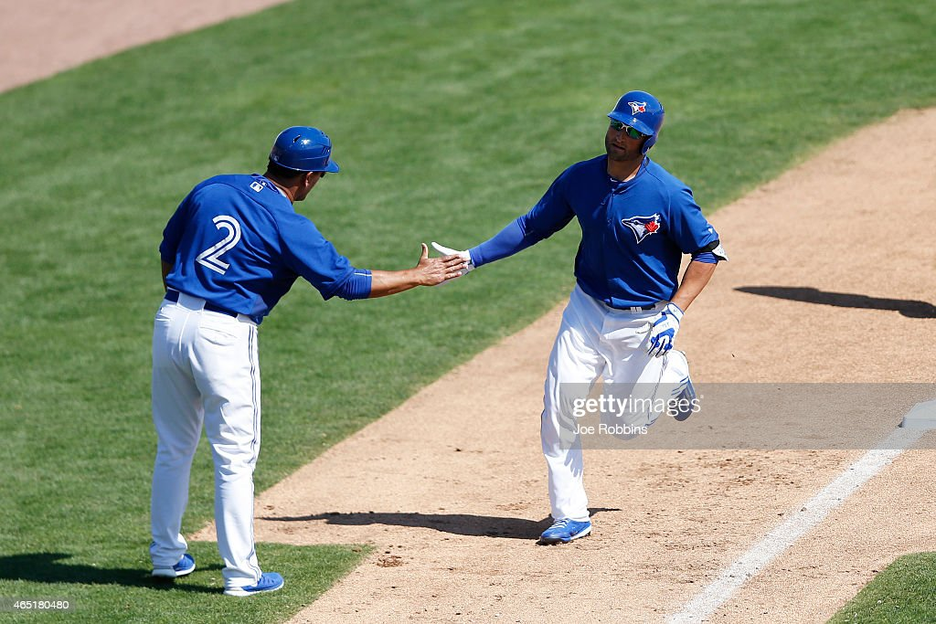 Kevin Pillar #11 of the Toronto Blue Jays rounds the bases after a three-run home run in the third inning of the game against the Pittsburgh Pirates at Florida Auto Exchange Stadium on March 3, 2015 in Dunedin, Florida. The Pirates defeated the Blue Jays 8-7.