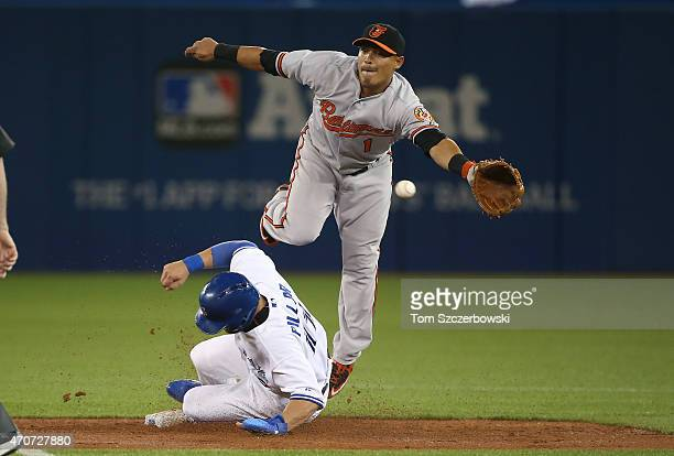 Kevin Pillar of the Toronto Blue Jays steals second base in the third inning during MLB game action as Everth Cabrera of the Baltimore Orioles cannot...