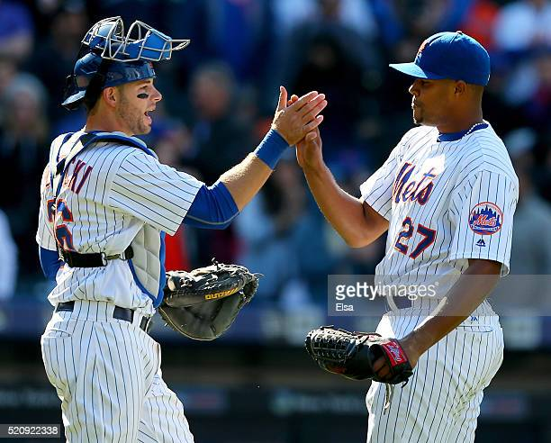 Kevin Plawecki and Jeurys Familia of the New York Mets celebrate the 21 win over the Miami Marlins at Citi Field on April 13 2016 in the Flushing...