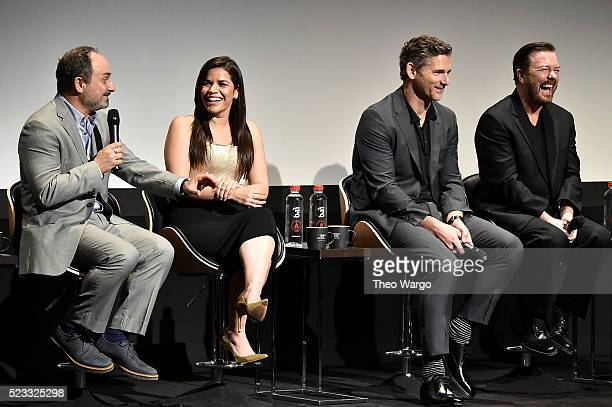 Kevin Pollak America Ferrera Eric Bana and Ricky Gervais speak onstage at the premiere Special Correspondents during the 2016 Tribeca Film Festival...