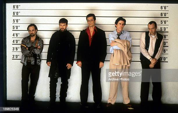 Kevin Pollak Stephen Baldwin Benicio Del Toro Gabriel Byrne and Kevin Spacey line up in a scene from the film 'The Usual Suspects' 1995