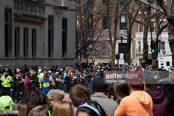 Kevin Pool on the final block before the home stretch of Boylston St for the 2013 Boston Marathon.