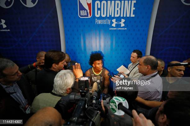 Kevin Porter Jr #20 is interviewed during Day One of the 2019 NBA Draft Combine on May 16 2019 at the Quest MultiSport Complex in Chicago Illinois...