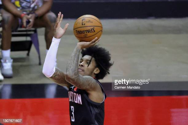 Kevin Porter Jr. #3 of the Houston Rockets attempts a basket during the third quarter of a game against the Golden State Warriors at the Toyota...