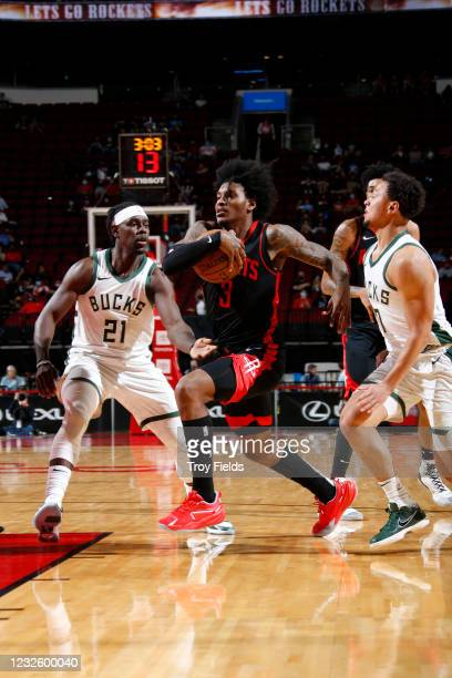 Kevin Porter Jr. #3 of the Houston Rockets drives to the basket during the game against the Milwaukee Bucks on April 29, 2021 at the Toyota Center in...