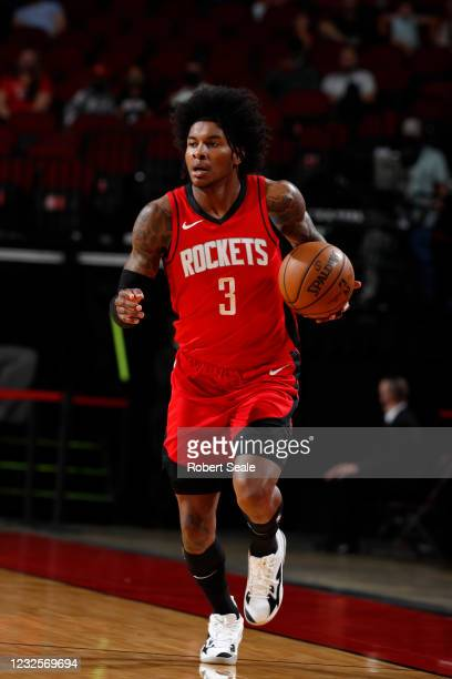 Kevin Porter Jr. #3 of the Houston Rockets handles the ball against the Minnesota Timberwolves on April 27 at the Toyota Center in Houston, Texas....
