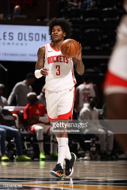 Kevin Porter Jr. #3 of the Houston Rockets handles the ball during the game against the Utah Jazz on March 12, 2021 at vivint.SmartHome Arena in Salt...