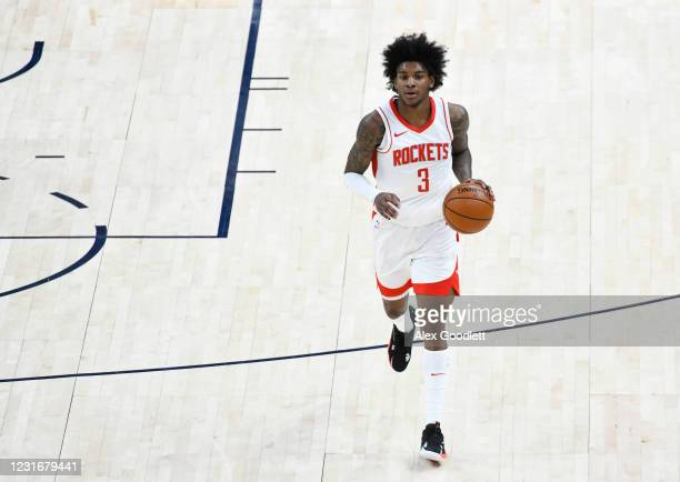 Kevin Porter Jr. #3 of the Houston Rockets in action during a game against the Utah Jazz at Vivint Smart Home Arena on March 12, 2021 in Salt Lake...