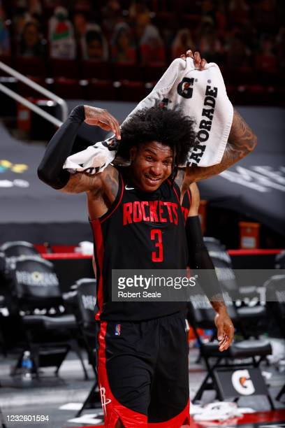 Kevin Porter Jr. #3 of the Houston Rockets interviews after the game against the Milwaukee Bucks on April 29, 2021 at the Toyota Center in Houston,...