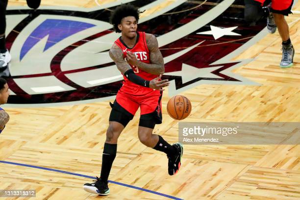 Kevin Porter Jr. #3 of the Houston Rockets passes the ball against the Orlando Magic at Amway Center on April 18, 2021 in Orlando, Florida. NOTE TO...