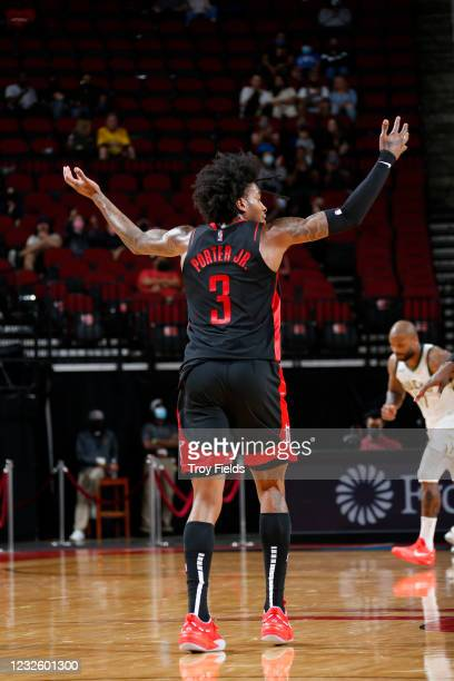 Kevin Porter Jr. #3 of the Houston Rockets puts his arms in the air during the game against the Milwaukee Bucks on April 29, 2021 at the Toyota...