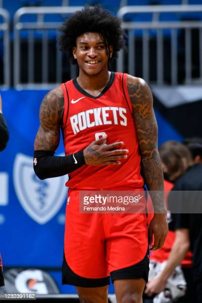 Kevin Porter Jr. #3 of the Houston Rockets smiles during the game against the Orlando Magic on April 18, 2021 at Amway Center in Orlando, Florida....