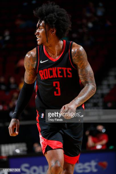 Kevin Porter Jr. #3 of the Houston Rockets smiles during the game against the Milwaukee Bucks on April 29, 2021 at the Toyota Center in Houston,...