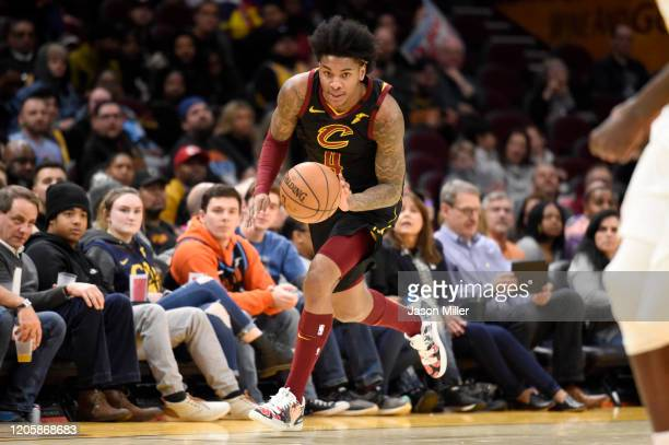 Kevin Porter Jr. #4 of the Cleveland Cavaliers brings the ball up court during the second half against the Atlanta Hawks at Rocket Mortgage...