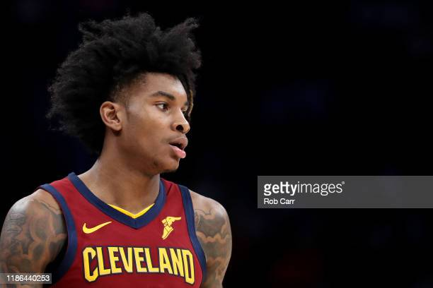 Kevin Porter Jr. #4 of the Cleveland Cavaliers dribbles the ball against the Washington Wizards at Capital One Arena on November 08, 2019 in...