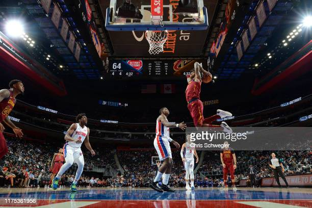 Kevin Porter Jr. #4 of the Cleveland Cavaliers dunks the ball against the Detroit Pistons during a pre-season game on October 11, 2019 at Little...