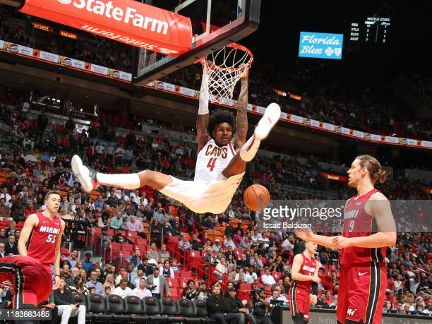 Kevin Porter Jr. #4 of the Cleveland Cavaliers dunks the ball against the Miami Heat on November 20, 2019 at American Airlines Arena in Miami,...