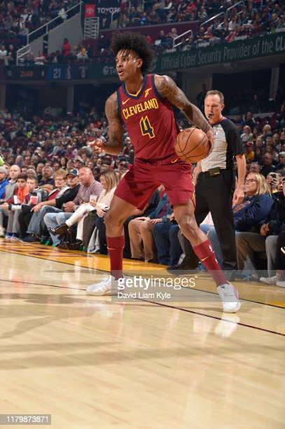 Kevin Porter Jr. #4 of the Cleveland Cavaliers handles the ball against the Dallas Mavericks on November 3, 2019 at Rocket Mortgage FieldHouse in...
