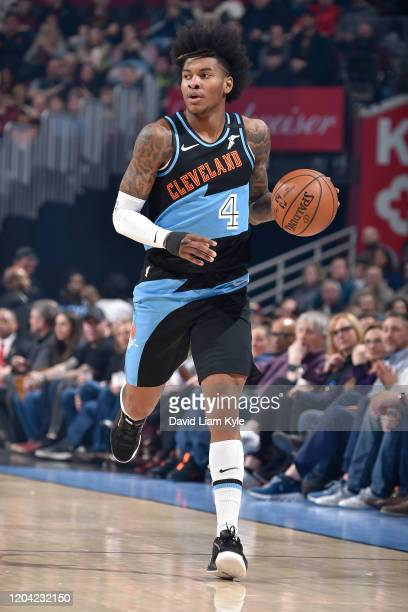 Kevin Porter Jr. #4 of the Cleveland Cavaliers handles the ball against the Indiana Pacers on February 29, 2020 at Rocket Mortgage FieldHouse in...