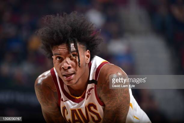 Kevin Porter Jr. #4 of the Cleveland Cavaliers looks on during the game against the Miami Heat on February 24, 2020 at Rocket Mortgage FieldHouse in...