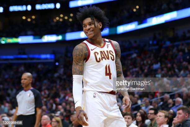 Kevin Porter Jr. #4 of the Cleveland Cavaliers reacts against the New Orleans Pelicans during the second half at the Smoothie King Center on February...