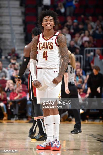 Kevin Porter Jr. #4 of the Cleveland Cavaliers reacts to play during the game on February 24, 2020 at Rocket Mortgage FieldHouse in Cleveland, Ohio....