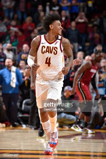 Kevin Porter Jr. #4 of the Cleveland Cavaliers smiles during the game against the Miami Heat on February 24, 2020 at Rocket Mortgage FieldHouse in...