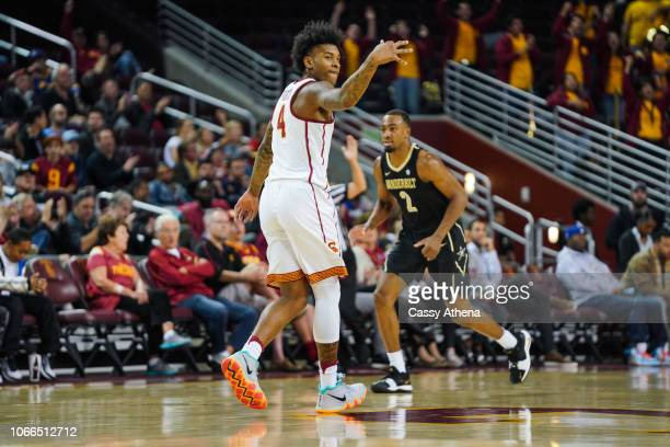 Kevin Porter Jr #4 of the USC Trojans celebrates after a 3 point shot against the Vanderbilt Commodores during a game at The Galen Center on November...