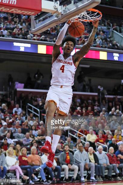 Kevin Porter Jr #4 of the USC Trojans ducks the ball against the Oregon State Beavers during a college basketball game at Galen Center on February 23...