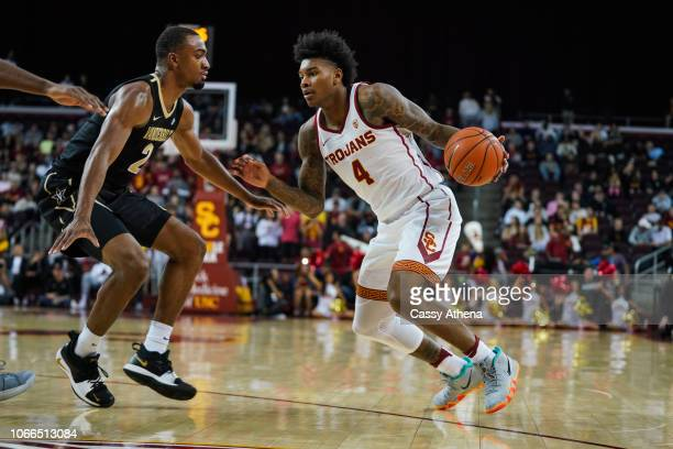 Kevin Porter Jr #4 of the USC Trojans handles the ball against Joe Toye the Vanderbilt Commodores at The Galen Center on November 11 2018 in Los...