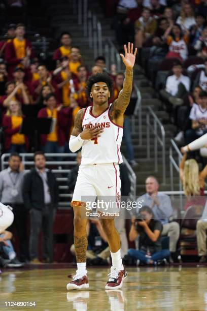 Kevin Porter Jr #4 of the USC Trojans looks on against the Arizona Wildcats during a game at Galen Center on January 24 2019 in Los Angeles California