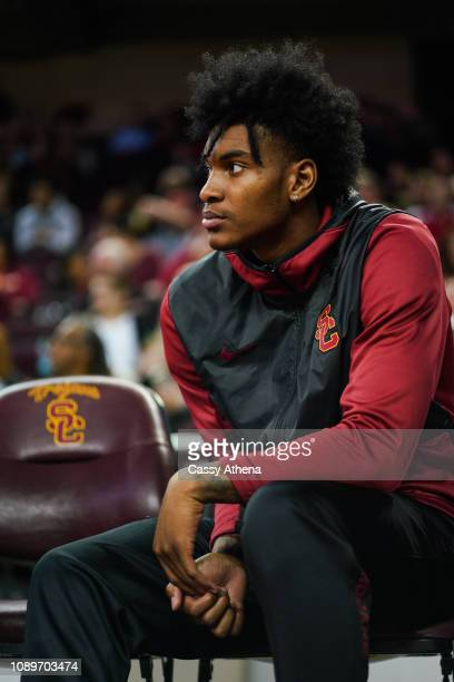 Kevin Porter Jr of the USC Trojans looks on during a game against the Cal Bears at The Galen Center on January 3 2019 in Los Angeles California
