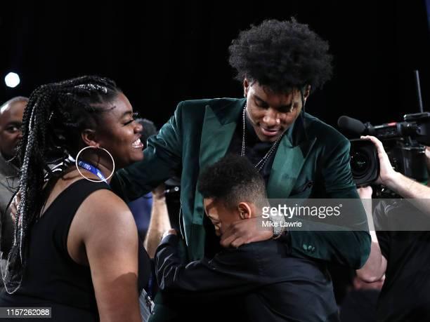 Kevin Porter Jr reacts after being drafted with the 30th overall pick by the Milwaukee Bucks during the 2019 NBA Draft at the Barclays Center on June...