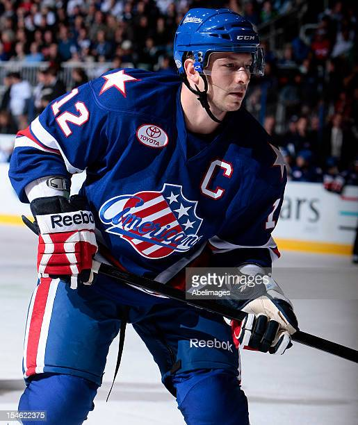 Kevin Porter of the Rochester Americans skates up the ice during AHL action against the Toronto Marlies at the Ricoh Coliseum October 13 2012 in...