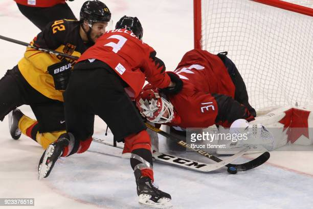 Kevin Poulin of Canada makes a save against Germany during the Men's Playoffs Semifinals on day fourteen of the PyeongChang 2018 Winter Olympic Games...