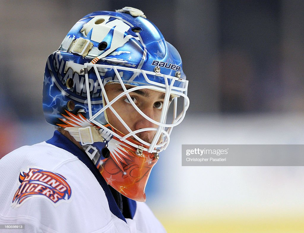 Kevin Poulin #38 of the Bridgeport Sound Tigers looks on prior to an American Hockey League game against the Norfolk Admirals on February 2, 2013 at the Webster Bank Arena at Harbor Yard in Bridgeport, Connecticut.