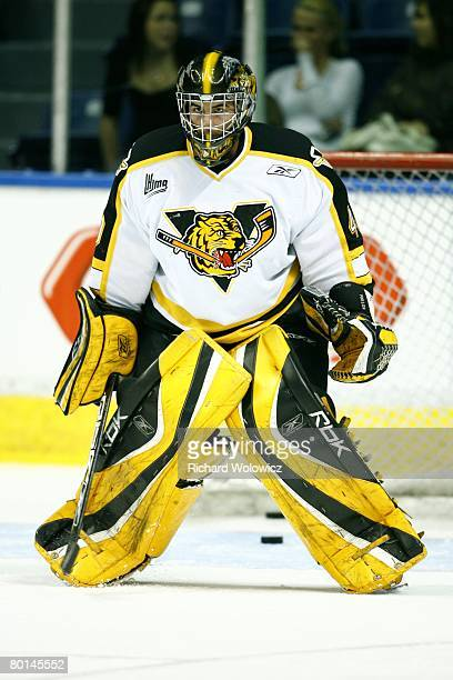 Kevin Poulin of the Victoriaville Tigres warms up prior to facing the Quebec City Remparts at Colisee Pepsi on March 01 2008 in Quebec City Quebec...
