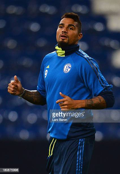 Kevin Prince Boateng is seen during a FC Schalke 04 training session ahead of their UEFA Champions League Group E match against FC Steaua Bucuresti...
