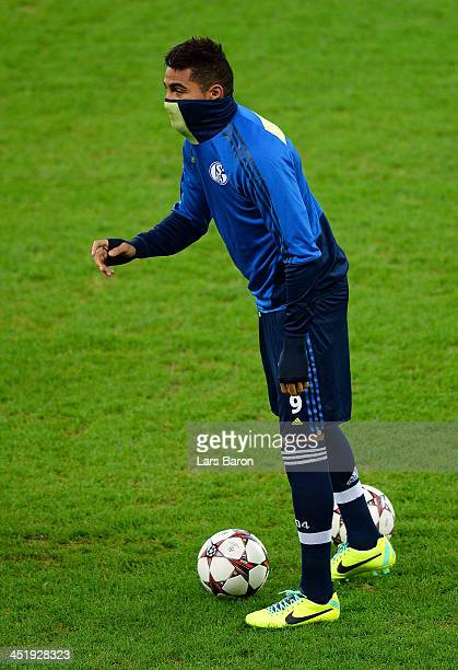 Kevin Prince Boateng is seen during a FC Schalke 04 training session prior to their UEFA Champions League Group E match against FC Steaua Bucuresti...