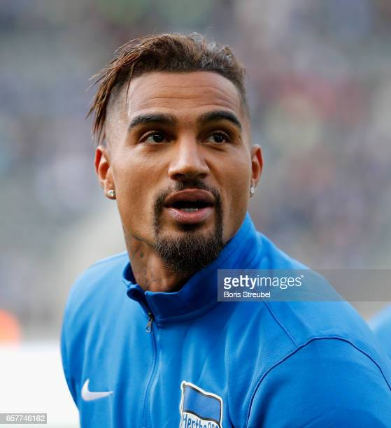 Kevin Prince Boateng looks on prior to the Marcelinho testimonial match between a team of former Hertha BSC players and a team of brasilian players...