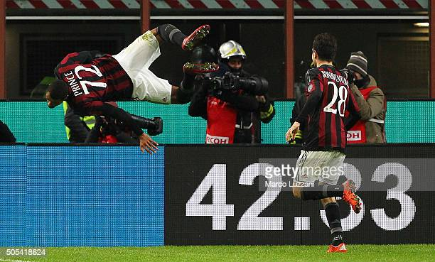 Kevin Prince Boateng of AC Milan celebrates his goal during the Serie A match between AC Milan and ACF Fiorentina at Stadio Giuseppe Meazza on...