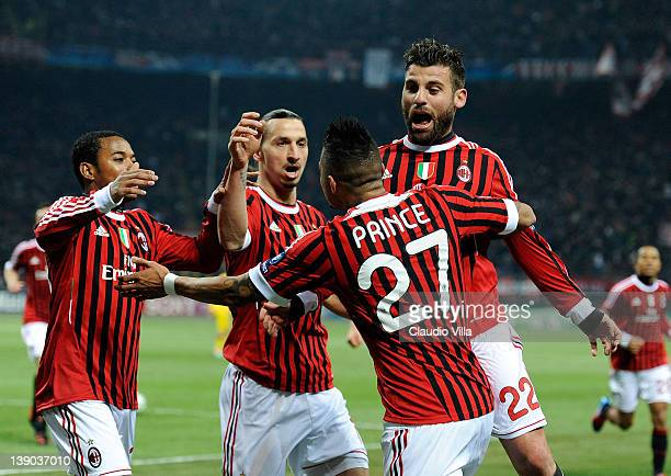 Kevin Prince Boateng of AC Milan celebrates scoring the first goal during the UEFA Champions League round of 16 first leg match between AC Milan and...