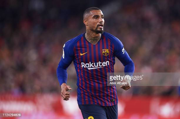 Kevin Prince Boateng of FC Barcelona looks on during the Copa del Quarter Final match between Sevilla FC and FC Barcelona at Estadio Ramon Sanchez...