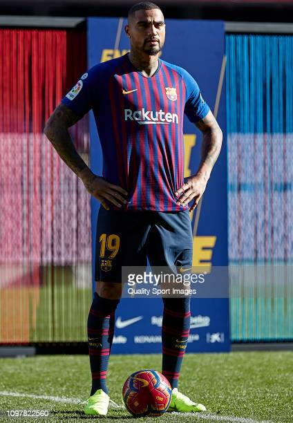 Kevin Prince Boateng of FC Barcelona poses during his unveiling at Nou Camp on January 22 2019 in Barcelona Spain