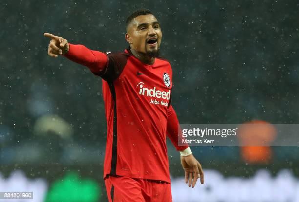 Kevin Prince Boateng of Frankfurt gestures during the Bundesliga match between Hertha BSC and Eintracht Frankfurt at Olympiastadion on December 3...