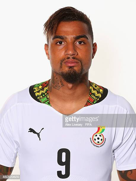Kevin Prince Boateng of Ghana poses during the official FIFA World Cup 2014 portrait session on June 11 2014 in Maceio Brazil